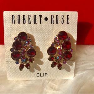 Robert Rose Clip On Earrings